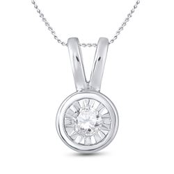 1/10 CTW Round Diamond Solitaire Faceted Framed Pendant 10kt White Gold - REF-9Y6X