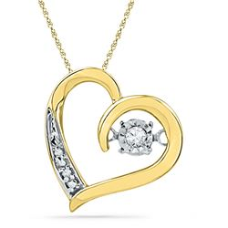 1/20 CTW Round Diamond Heart Twinkle Moving Pendant 10kt Yellow Gold - REF-11K4R