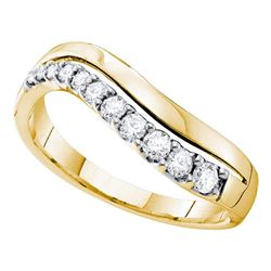 1/3 CTW Round Diamond Curved Single Row Ring 14kt Yellow Gold - REF-35R9H