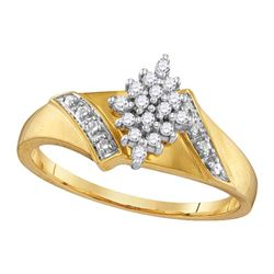 1/10 CTW Round Diamond Oval Cluster Ring 14kt Yellow Gold - REF-22R8H
