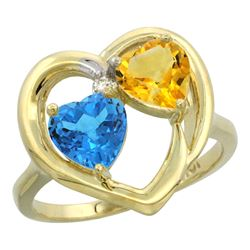 2.61 CTW Diamond, Swiss Blue Topaz & Citrine Ring 14K Yellow Gold - REF-33R9H
