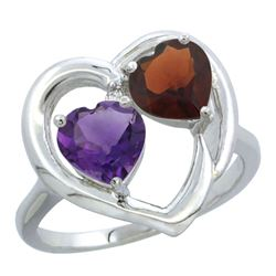 2.61 CTW Diamond, Amethyst & Garnet Ring 14K White Gold - REF-33W9F