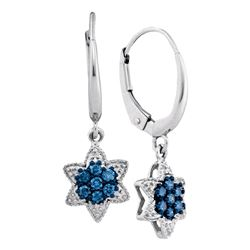 1/4 CTW Round Blue Color Enhanced Diamond Star Cluster Dangle Earrings 10kt White Gold - REF-18M3A