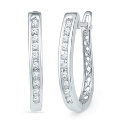 1/5 CTW Round Diamond Slender Single Row Oblong Hoop Earrings 10kt White Gold - REF-24K3R