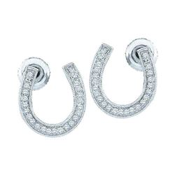 1/6 CTW Diamond Horseshoe Lucky Screwback Stud Earrings 10kt White Gold - REF-14H4W
