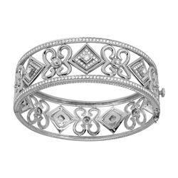 2.38 CTW Diamond Bangle 18K White Gold - REF-459H8M