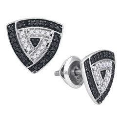 1/2 CTW Round Black Color Enhanced Diamond Triangle Earrings 10kt White Gold - REF-18H3W