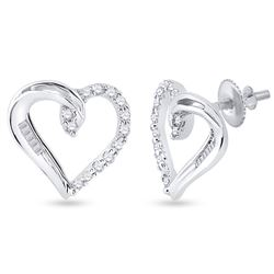 1/6 CTW Round Diamond Heart Earrings 10kt White Gold - REF-10F8M