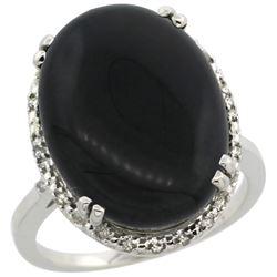 6.39 CTW Onyx & Diamond Ring 14K White Gold - REF-52H9M