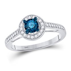 3/8 CTW Round Blue Color Enhanced Diamond Solitaire Bridal Wedding Ring 10kt White Gold - REF-27H5W