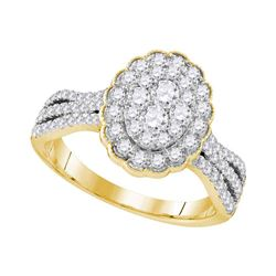 1 CTW Round Diamond Oval Flower Cluster Ring 10kt Yellow Gold - REF-90H3W