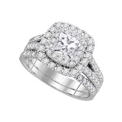2 CTW Princess Diamond Bridal Wedding Engagement Ring 14kt White Gold - REF-383W9F