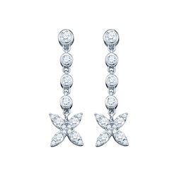 3/4 CTW Round Diamond Flower Cluster Dangle Earrings 10kt White Gold - REF-35X9T