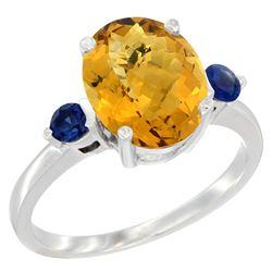 2.64 CTW Quartz & Blue Sapphire Ring 14K White Gold - REF-31N4Y