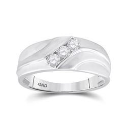 1/3 CTW Mens Round Diamond Wedding Ring 10kt White Gold - REF-41M9A