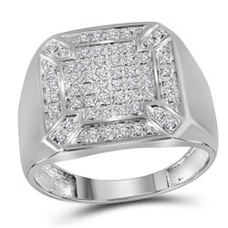1/3 CTW Mens Round Diamond Square Cluster Ring 10kt White Gold - REF-30W3F