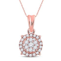 1/4 CTW Round Diamond Halo Cluster Pendant 14kt Rose Gold - REF-24H3W