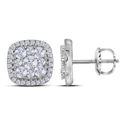 1 CTW Round Diamond Square Cluster Earrings 10kt White Gold - REF-60F3M