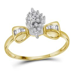 1/10 CTW Round Prong-set Diamond Oval Cluster Baguette Ring 10kt Yellow Gold - REF-10A2N