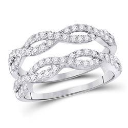 3/4 CTW Round Diamond Wrap Ring 14kt White Gold - REF-75F5M