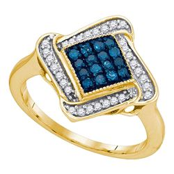 1/3 CTW Round Blue Color Enhanced Diamond Cluster Ring 10kt Yellow Gold - REF-19W2F