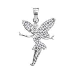 1/4 CTW Round Diamond Tinkerbell Fairy Fashion Pendant 10kt White Gold - REF-15H5W