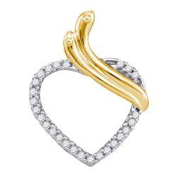 1/10 CTW Round Diamond Heart Pendant 10kt Yellow Gold - REF-9X6T