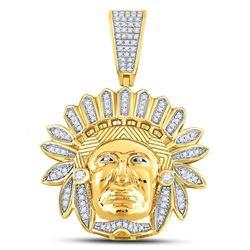 1/3 CTW Mens Round Diamond Native American Chief Charm Pendant 10kt Yellow Gold - REF-47T9K