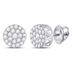 1 CTW Round Diamond Circle Frame Cluster Earrings 14kt White Gold - REF-60Y3X