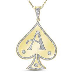 5/8 CTW Mens Round Diamond Spade Aces Charm Pendant 10kt Yellow Gold - REF-43X5T