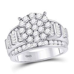 2 CTW Round Diamond Cluster Bridal Wedding Engagement Ring 10kt White Gold - REF-113X9T
