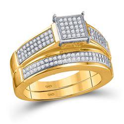 3/8 CTW Round Diamond Bridal Wedding Engagement Ring 10kt Yellow Gold - REF-39H3W