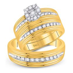 3/8 CTW His & Hers Round Diamond Solitaire Matching Bridal Wedding Ring 10kt Yellow Gold - REF-45W6F