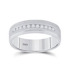 1/4 CTW Mens Round Diamond Single Row Wedding Ring 14kt White Gold - REF-54X3T