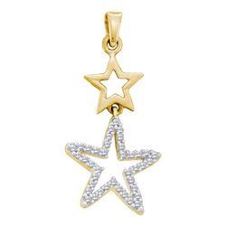 1/10 CTW Round Diamond Star Pendant 10kt Yellow Gold - REF-8A4N