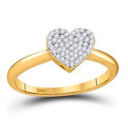 1/6 CTW Round Diamond Heart Ring 10kt Yellow Gold - REF-11R9H