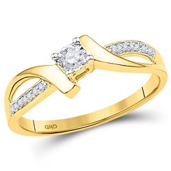 1/10 CTW Round Diamond Solitaire Promise Bridal Ring 10kt Yellow Gold - REF-14A4N