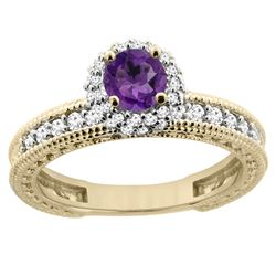 0.77 CTW Amethyst & Diamond Ring 14K Yellow Gold - REF-65M8A