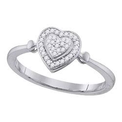 1/10 CTW Round Diamond Heart Frame Cluster Ring 10kt White Gold - REF-11R9H