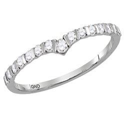1/4 CTW Round Diamond Chevron Stackable Ring 10kt White Gold - REF-16M8A