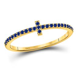 1/6 CTW Round Blue Sapphire Cross Stackable Ring 10kt Yellow Gold - REF-10M8A