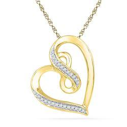 1/10 CTW Round Diamond Heart Infinity Pendant 10kt Yellow Gold - REF-18K3R