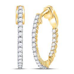 1/2 CTW Round Diamond Inside Outside Hoop Earrings 10kt Yellow Gold - REF-35Y9X