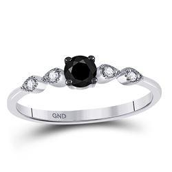 10kt White Gold Round Black Color Enhanced Diamond Solitaire Bridal Wedding Engagement Ring 1/3 Cttw