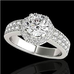 1.4 ctw Certified Diamond Solitaire Halo Ring 10k White Gold