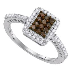 10kt White Gold Round Brown Diamond Rectangle Frame Cluster Ring 1/2 Cttw