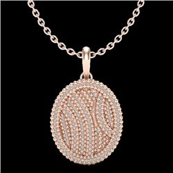 1 ctw Micro Pave VS/SI Diamond Certified Necklace 14k Rose Gold