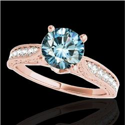 1.21 ctw SI Certified Blue Diamond Solitaire Antique Ring 10k Rose Gold
