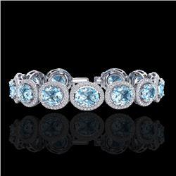 30 ctw Sky Blue Topaz & Micro Pave VS/SI Diamond Bracelet 10k White Gold