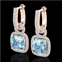 7 ctw Sky Blue Topaz & Micro Pave VS/SI Diamond Earrings 14k Rose Gold